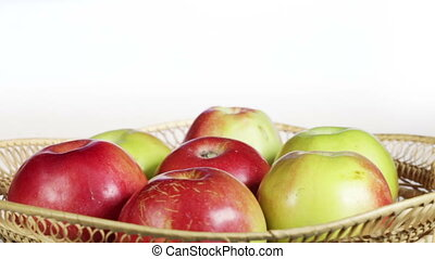 Apples in basket - Shooting apples in basket on rotating...