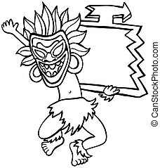 Witch Doctor Sign Line Art isolated on a white background.