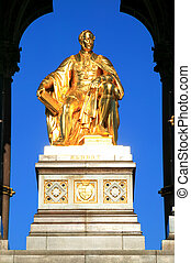 Albert Memorial - The gold leaf covered statue of Prince...