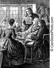 Musicians Performing - An engraved vintage illustration of a...