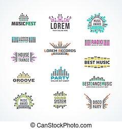 First big set music equalizer emblem vector elements