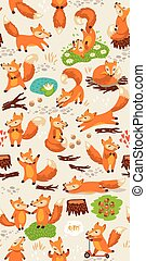 Cartoon seamless pattern with cute foxes. Forest background...