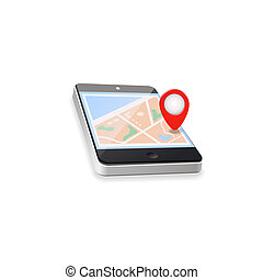 World Map GPS Navigation Mobile Phone Technologies Concept -...