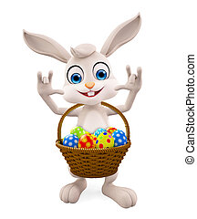 Easter Bunny with eggs basket - 3D illustration of Easter...