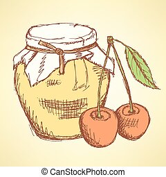 Sketch cherry and jar in vintage style