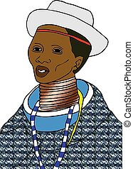 Ndebele Woman in Blanket attire - Modern clothing of the...
