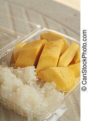 黏性, 米, 由于, 芒果, , dessert, ......的, 泰國,