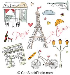 Paris symbols, postcard, hand drawn