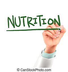 doctor writing nutrition word