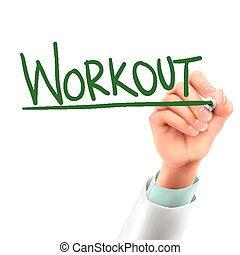 doctor writing workout word