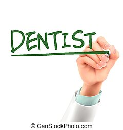 doctor writing dentist word in the air