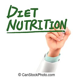 doctor writing diet nutrition words