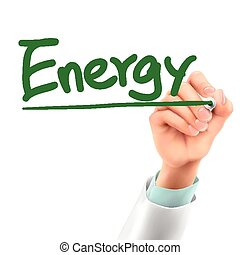 doctor writing energy word in the air