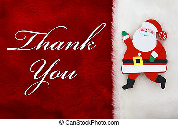 Thank You, A plush red stocking a Santa Claus and words...