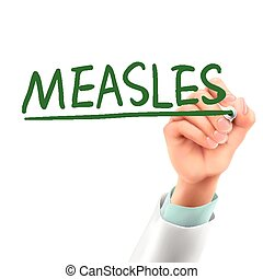 doctor writing measles word in the air