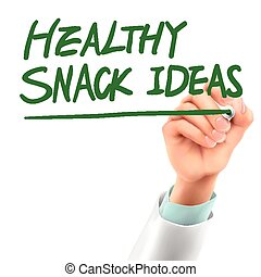 doctor writing healthy snack ideas words