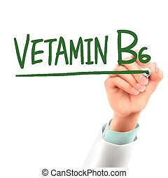 doctor writing vitamin B6 words in the air