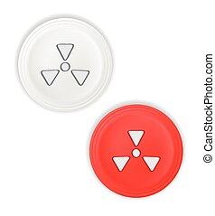 botones, símbolo, radioactivo