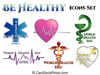 Medical symbols on white World Health day Star of Life Heart...