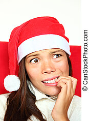 Nervous christmas woman with stress - Christmas woman with...
