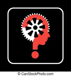 Modern man sign with question mark and gear, vector