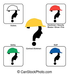 Safety Helmet Colors - Construction Site, vector