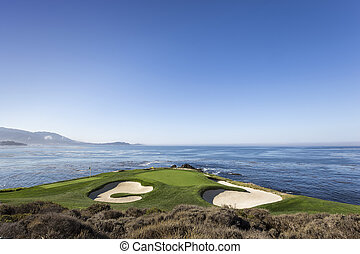Pebble Beach golf course, Monterey, California, USA - A view...