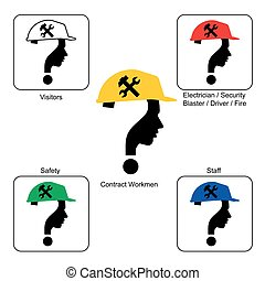 Safety Helmet Colors - Construction Site , vector