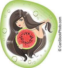 Brunette girl holding a watermelon. Template label shampoo....