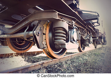 vintage train - Low angle view of wheel of vintage train