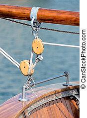 Sail boat tackle close up
