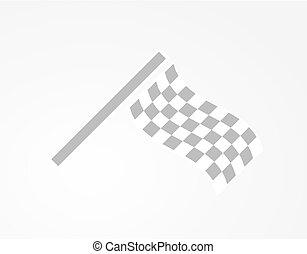 checkered racing flag - waving checkered racing flag on gray...
