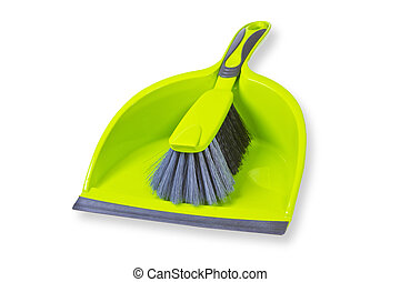 Broom with dustpan isolated on whie background