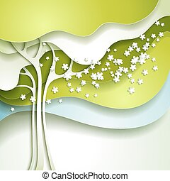 Abstract spring tree with white flo
