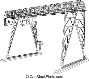 Gantry crane. Wire-frame. Vector rendering of 3d - Gantry...