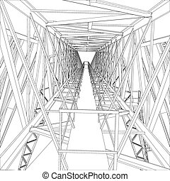 Gantry crane Wire-frame Vector rendering of 3d - Gantry...