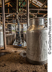 Milk Bucket in Milking Stable - A milk bucket stand on the...