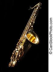 Saxophone isolated on black backgro