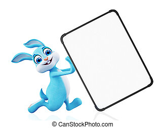 Easter bunny with sign board - 3d illustration of Easter...