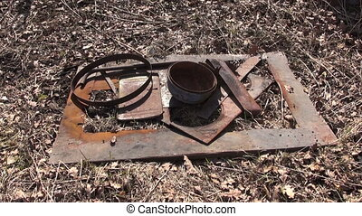 gathering rusty metal scrap-iron - put gathering rusty metal...