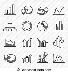 Graph outline stroke symbol icons
