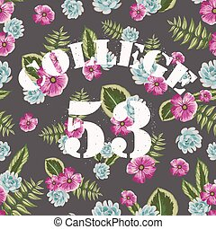 Flower tropical seamless pattern with college