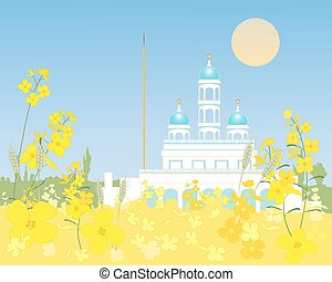 rural gurdwara - an illustration of a blue and white...