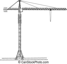 Tower construction crane. Vector rendering of 3d - Tower...