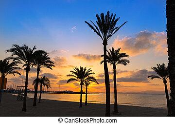 Majorca El Arenal sArenal beach sunset near Palma de...