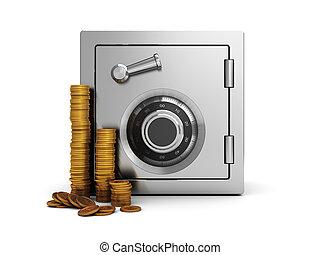 safe and coins - 3d illustration of steel safe and golden...