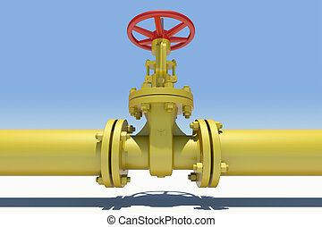 Yellow industrial valves and pipe with shadow