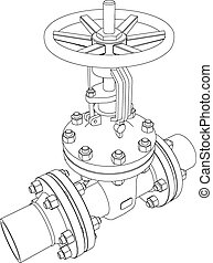 Industrial valve. Vector rendering of 3d - Industrial valve....