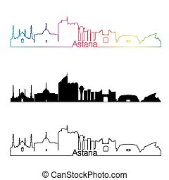 Astana skyline linear style with rainbow in editable vector...