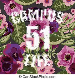 Flower tropical seamless pattern with campus life